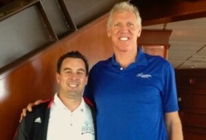 Jim Riley made Clayton's day in 2013 by introducing him to basketball legend, Portland favorite, and Azunia co-owner Bill Walton.